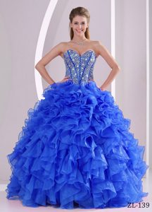 Unique Sweetheart Beads Dress for Quinceanera with Ruffles in Blue to Floor-length