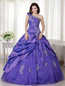 Good Quality Purple One Shoulder Sweet Sixteen Quinceanera Dress with Pick-ups