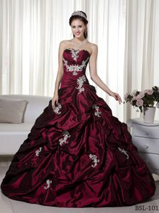 High End A-line Strapless Long Sweet Sixteen Dress with Appliques