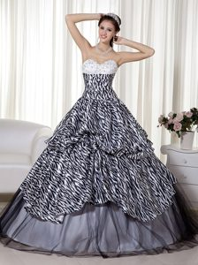 Dramatic Sweetheart A-line Quinceanera Dress in Zebra and Organza with Beading