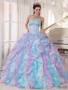 Shimmering Multi-color Sweetheart Quinceanera Dresses in Organza to Long