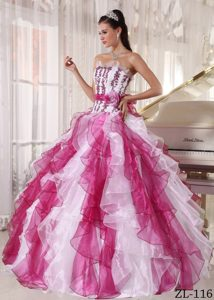 Noble Colorful Ball Gown Strapless Long Organza Beading Quince Dresses