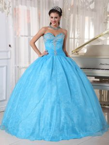 Military Baby Blue Sweetheart Quinceanera Dresses in and Organza to Floor