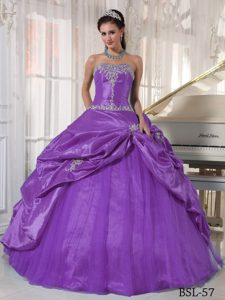 Newest Purple Strapless Quinceaneras Dresses in and Tulle with Appliques