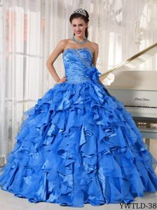 Blue Ball Gown Sweetheart Organza Quinceanera Dress with Ruffles on Sale