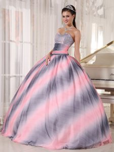 Ombre Color Sweetheart Chiffon Dress for Quince with Beading and Ruching
