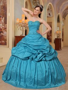 Teal Ball Gown Sweetheart Formal Quinceanera Dress with Beading