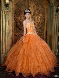 Gorgeous Ball Gown Orange Quinceanera Dresses with Appliques in Organza