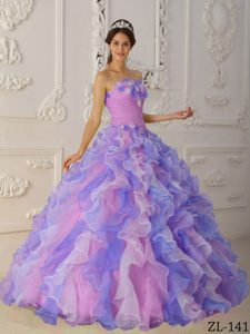 Multi-Color Strapless Organza Dress for Quince with Riffles and Hand Flowers