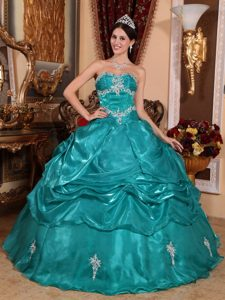 Turquoise Ball Gown Strapless Quinceanera Dress in Organza with Appliques