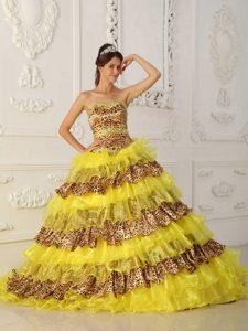 Yellow A-line Strapless Leopard and Organza Quinceanera Dress with Ruffles