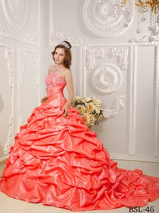 Orange Red Strapless Dresses for Quince with Pick Ups and Appliques