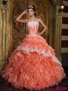 Orange Red Ball Gown Strapless Quinceanera Dress with Ruffles in Organza