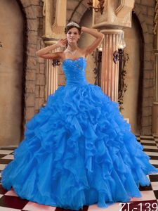 Blue Ball Gown Sweetheart Quinceanera Dress with Ruffles Made in Organza