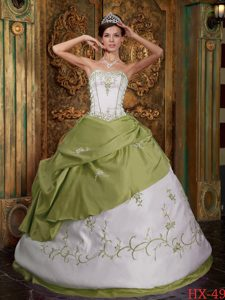 Olive Green Ball Gown Strapless Embroidery Dress for Quince Popular in 2013