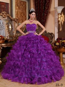 Purple Ball Gown Organza Beaded Dress with Ruffles Best Seller Nowadays