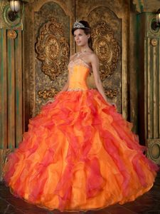 Orange A-line Sweetheart Organza Quinceanera Dress with Ruffles for Less