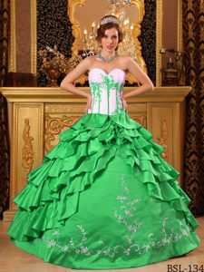 Green Ball Gown Ruffled and Embroidery Quinceanera Dress Made in