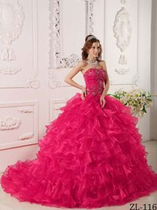 Hot Pink Strapless Quinceanera Dress in Organza with Ruffles and Embroidery
