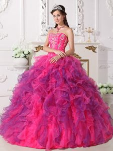 Special Ball Gown Satin and Organza Quinceanera Dress with Ruffles on Sale