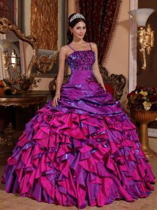 Purple and Fuchsia Ball Gown Embroidery Quinceanera Dresses with Ruffles