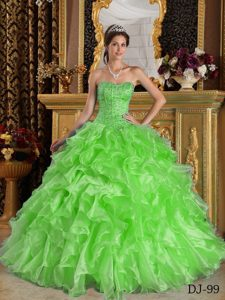 Spring Green Ball Gown Organza Dress for Quince with Ruffles and Beading