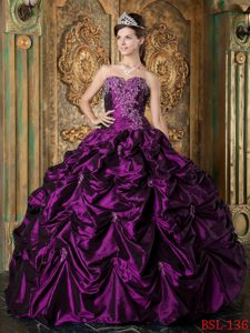 New Eggplant Purple Sweetheart Quinceanera Dresses with Picks Ups