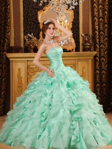 Luxurious Ball Gown Organza and Dresses for Quince in Apple Green