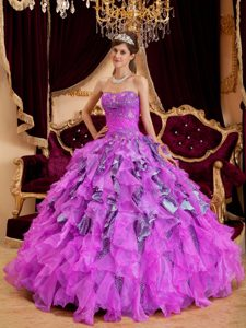 Fuchsia Ball Gown Leopard and Organza Quinceanera Dresses with Ruffles