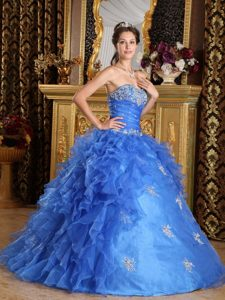 Blue Sweetheart Ruffled Organza Quinceanera Dress with Appliques for Less