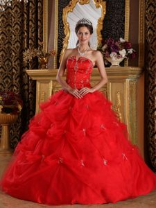 Red Ball Gown Strapless Quinceanera Dress with Pick-ups Best Seller