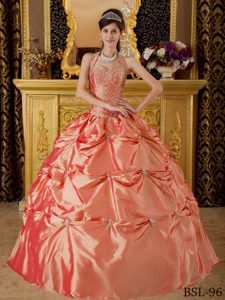 Watermelon Ball Gown Halter Top Appliqued Quinceanera Dresses in