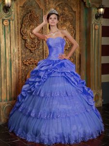 Purple and Tulle Quinceanera Dress with Lace and Appliques for Less