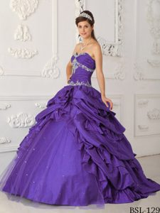Lavender A-line Sweetheart and Tulle Dress for Quince with Beading