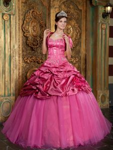 Hot Pink Sweetheart and Organza Quinceanera Dress with Appliques