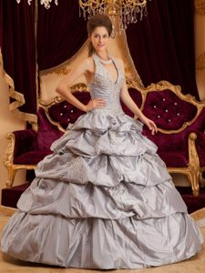 Gray Ball Gown Halter Appliqued Quinceanera Dresses with Pick Ups