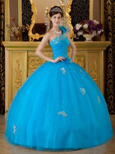 Gorgeous Teal One Shoulder Best Dresses for Quince with Appliques