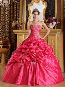 Hot Pink Strapless Quinceanera Formal Dress with Pick-ups Made in