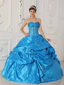Blue Ball Gown Sweetheart Appliqued Quinceanera Dress for Cheap