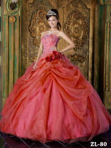 Elegant Red Strapless Quinceanera Dress in Organza with Beading on Sale
