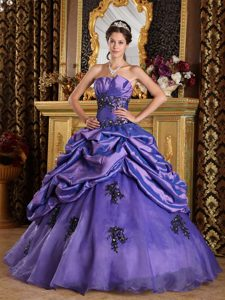 New Purple Strapless Organza Dress for Quince with Appliques and Pick Ups