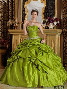 Olive Green Ball Gown Strapless Quinceanera Dress in with Beading