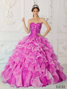Fuchsia Princess Quinceanera Dresses with Ruffles in and Organza