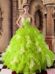 Yellow Green Strapless Dress for Quince in Organza with Beading and Ruffles