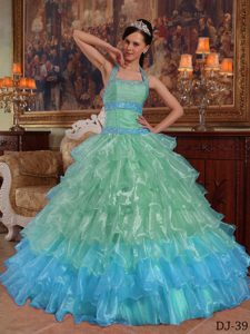Apple Green Ball Gown Halter Quinceanera Dresses with Ruffles in Organza
