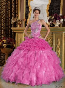 Hot Pink One Shoulder Satin and Organza Quinceanera Dresses with Ruffles