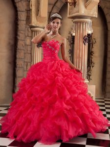 Lovely Red Ball Gown Sweetheart Organza Best Dress for Quince with Ruffles