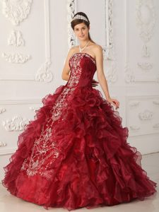 2013 Wine Red Strapless Embroidery Dress for Quince and Organza