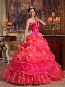 Unique Red Sweetheart and Organza Quinceanera Dress with Ruffles