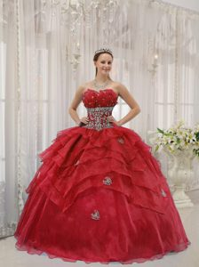 Latest Ball Gown Beaded Strapless Dress for Quince in Organza Best Seller